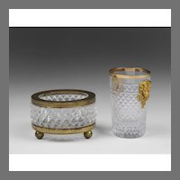 French Baccarat Bronze Mounted Cup & Bowl