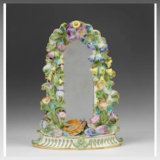 19th C. English Floral Encrusted Soft Paste Porcelain Mirror