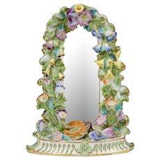 19th C. English Floral Encrusted Soft Paste Porcelain Mirror