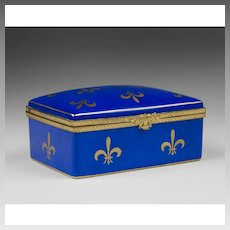 Azure Blue Fleur di-Lis Decorated Limoges Hinged Box
