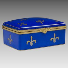 Azure Blue Fleur di-Lis Decorated Limoges Hinged Box