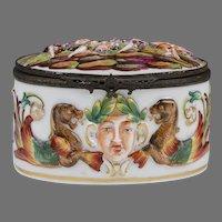 19th C. German Porcelain Capodimonte Oval Box