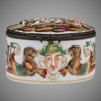 19th C. German Porcelain Capodimonte Oval Box