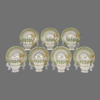 Set of 7 Davis Collamore Cups & Saucers, Handpainted