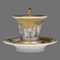 French Empire Neoclassical Gilt and Grisaille Painted Cup & Saucer