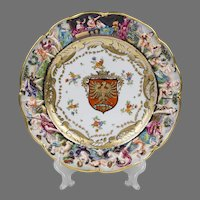 German Porcelain Capodimonte Plate With Heraldic Shield