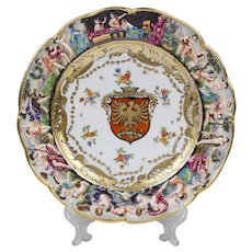 German Porcelain Capodimonte Plate With Heraldic Shield