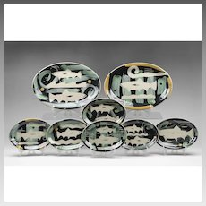 Contemporary Lisa Marshall Art Pottery Trout Set, 8 pcs.