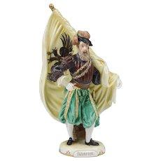 """Ernst Wahliss Bohemian Porcelain Soldier """"Fahnrich"""""""