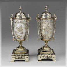 Pair of Art Nouveau Continental Damascene Garniture Vases