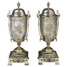 Pair of Art Nouveau Continental Damascene Garniture Vases