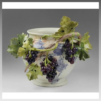 Rare Italian Mollica Barbotine Style Jardiniere With Applied Grape Vines