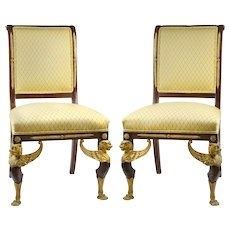 Pair of Late 19th C. English Side Chairs, French Empire Style