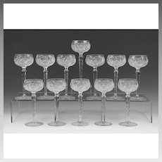 12 Early 20th C. Brilliant Cut Glass Wine Goblets