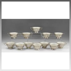 12 Matched Bouillon Bowls With Gorham Sterling Racks And Lenox China Bowls