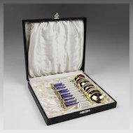 Set of 10 EGON Gilt Washed Sterling Bouillon Spoons, Enamel Handles