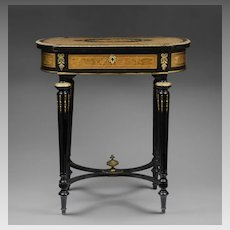 19th C. Napoleon III Inlaid Work Table By Alphonse Tahan