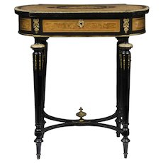 19th C. Napoleon III Inlaid Work Table By Alphonse Tahan