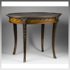 Early 20th Century French Oval Inlaid Coffee Table Mounted In Ormolu