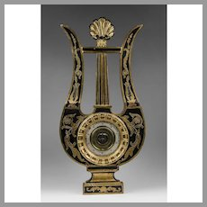 Early 20th C. Charles X Style Partial Giltwood Lacquered Barometer