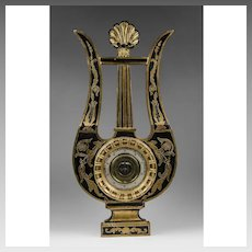 Early 20th C. Charles X Style Partial Giltwood and Ebony Barometer