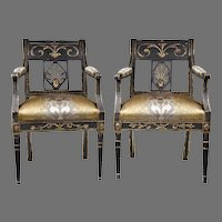 Pair of Period Sheraton Black Lacquered Armchairs, Hand Carved Gilded Highlights