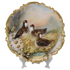 Limoges Charger With Partridges, Signed Dubois