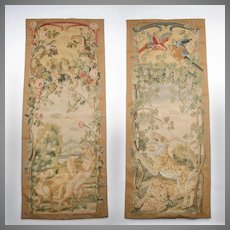 Late 19th C. Aubusson Tapestry Portiere Door Panels Entre Fenetre