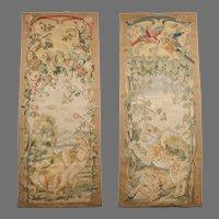 Late 19th C. Aubusson Tapestry Portiere Door Panels Entre Fenetre