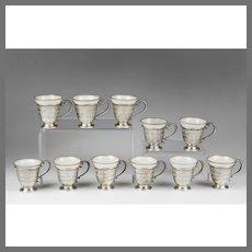 Set of 11 Sterling Silver Racks With Demitasse Porcelain Cups