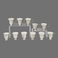 Set of 11 Sterling Silver Racks With Demitasse Porcelain Cups