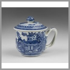 19th C. Chinese Export Blue & White Covered Tea Cup With Twisted Handle