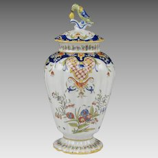 French Early 20th C. Desvres Fourmaintraux Covered Urn