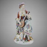 19th C. German Porcelain Figurine Of Lady With Mandolin and Lamb