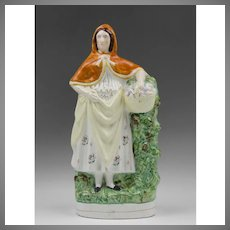 Large 19th C. Staffordshire Figure Of Flower Girl With Basket
