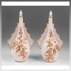 Pair of Grainger & Company Worcester Pierced Perfume Bottles