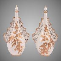 Pair of Grainger & Company Worcester Pierced Perfume Bottles