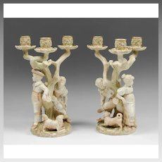 Pair of Royal Worcester James Hadley Figural Candelabras