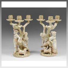 Pair of Royal Worcester James Hadley Figural Candelabras