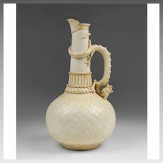Royal Worcester Quilted Dragon Handle Ewer, Form 1015