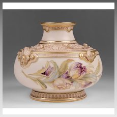 1889 Blush Ivory Royal Worcester Vase, Form 1214