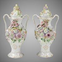 Coalport Coalbrookdale Potpourri Lidded Vases, Flower Encrusted