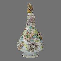 Circa 1830 Flower Encrusted Coalbrookdale Style Bottle Vase & Cover