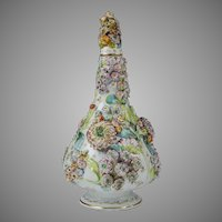 Circa 1830 Flower Encrusted Coalbrookdale Style Bottle Vase & Cover