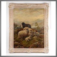 Robert Watson Oil Painting Sheep in a Highland Landsape