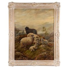 Robert Watson Oil Painting Sheep in a Highland Landsape