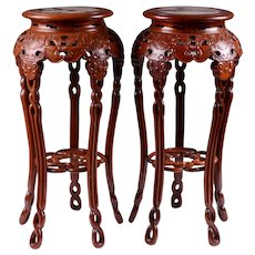 Pair of Matched Petite Carved Chinese Stands With Marble
