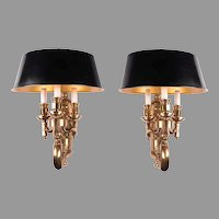 Pair of Heavy Vintage Brass Sconces With Tole Shades