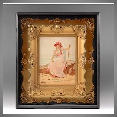 Watercolor on Paper by Maximilienne Guyon-Goepp; Shadowbox