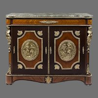 Napoleon III Style French Side Cabinet Mounted With Bronze Plaques
